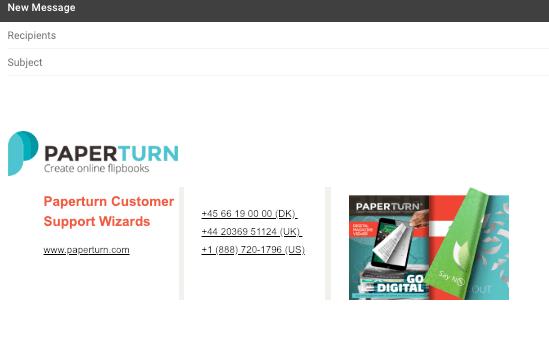 Eksempel på en email, hvor et Paperturn katalog er indsat som del af email-signaturet