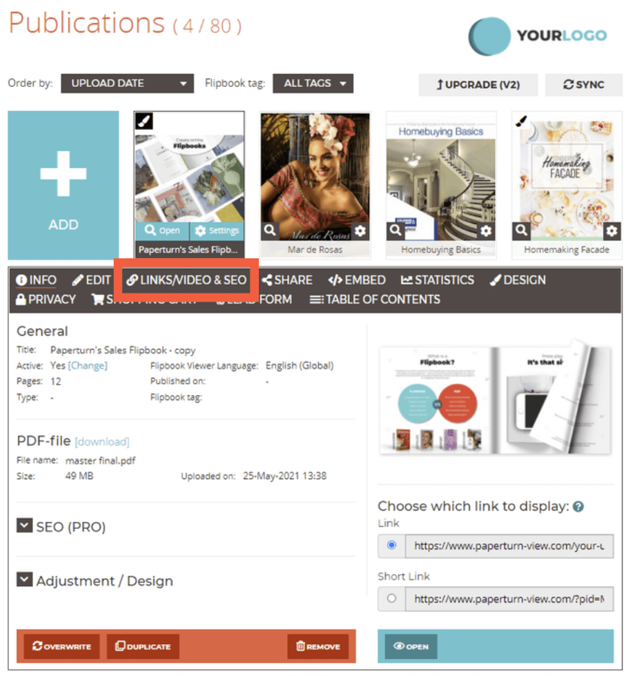Image of the flipbook dashboard with the links/video and SEO menu option outlined