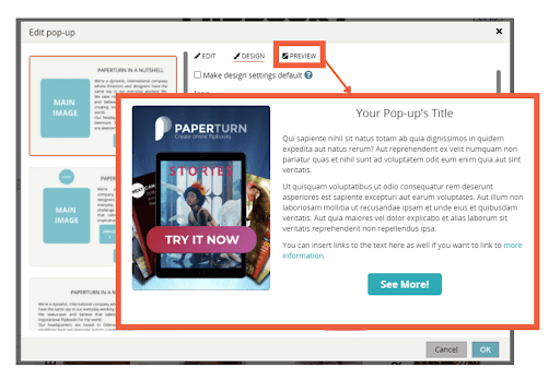 An image of the pop-up options window, outlining the preview tab and showing the pop-up preview that
