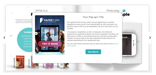 An image of the flipbook viewer open showing the completed pop-up.