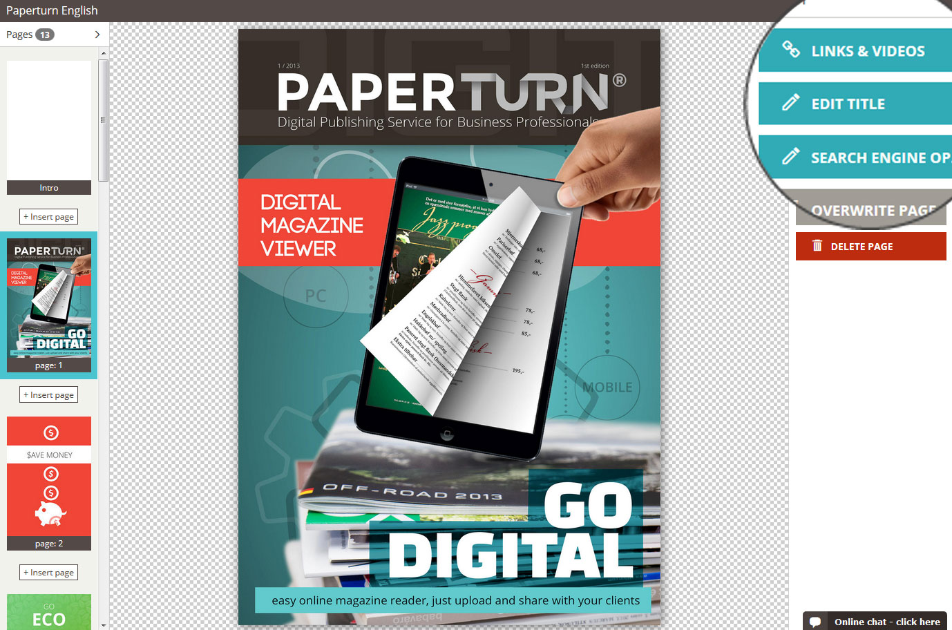 Paperturn menu for links, images and SEO