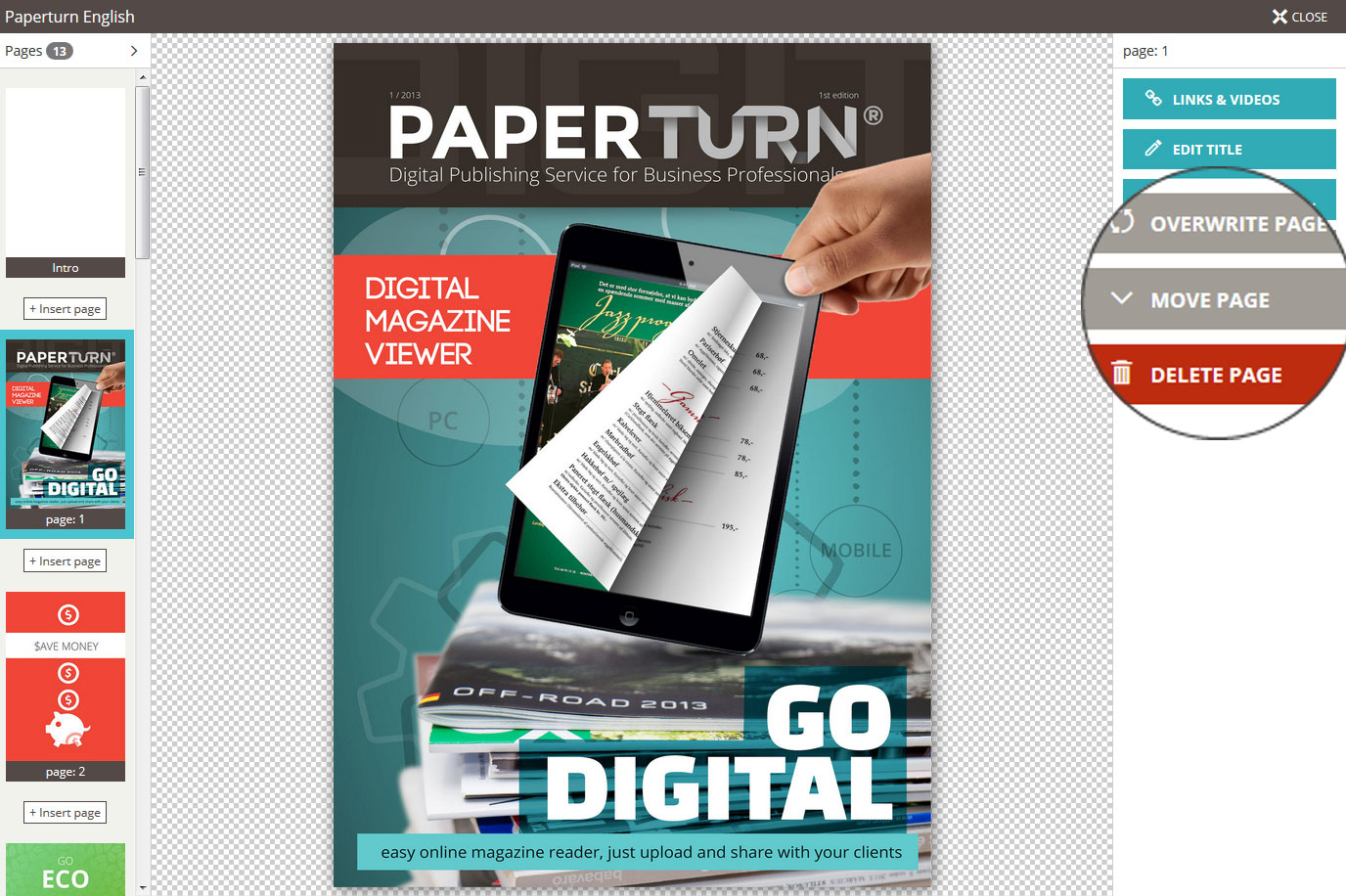 Managing the  pages of the flipbook in Paperturn