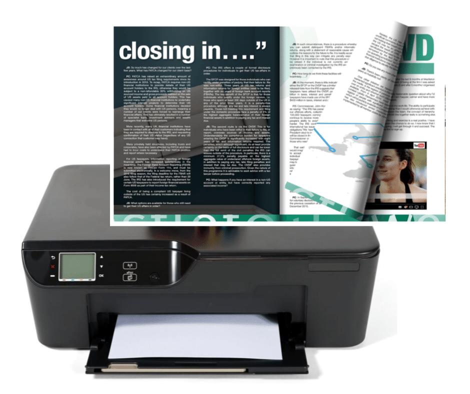 A printer shown alongside a flipbook