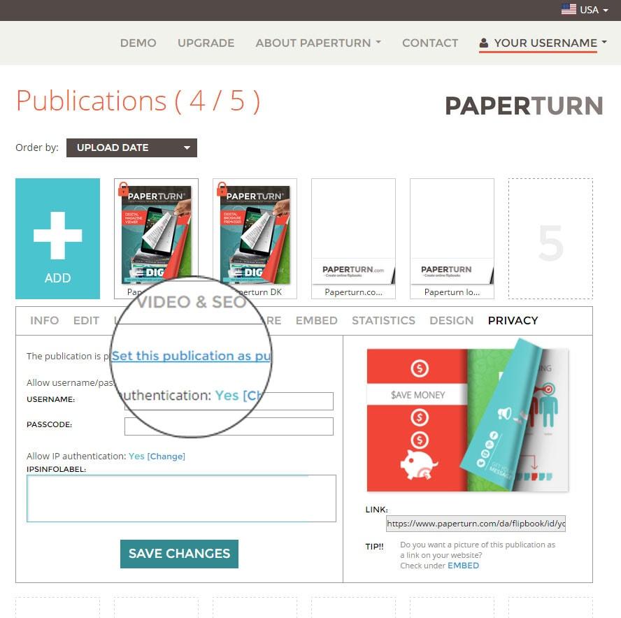 Set flipbook privacy to public