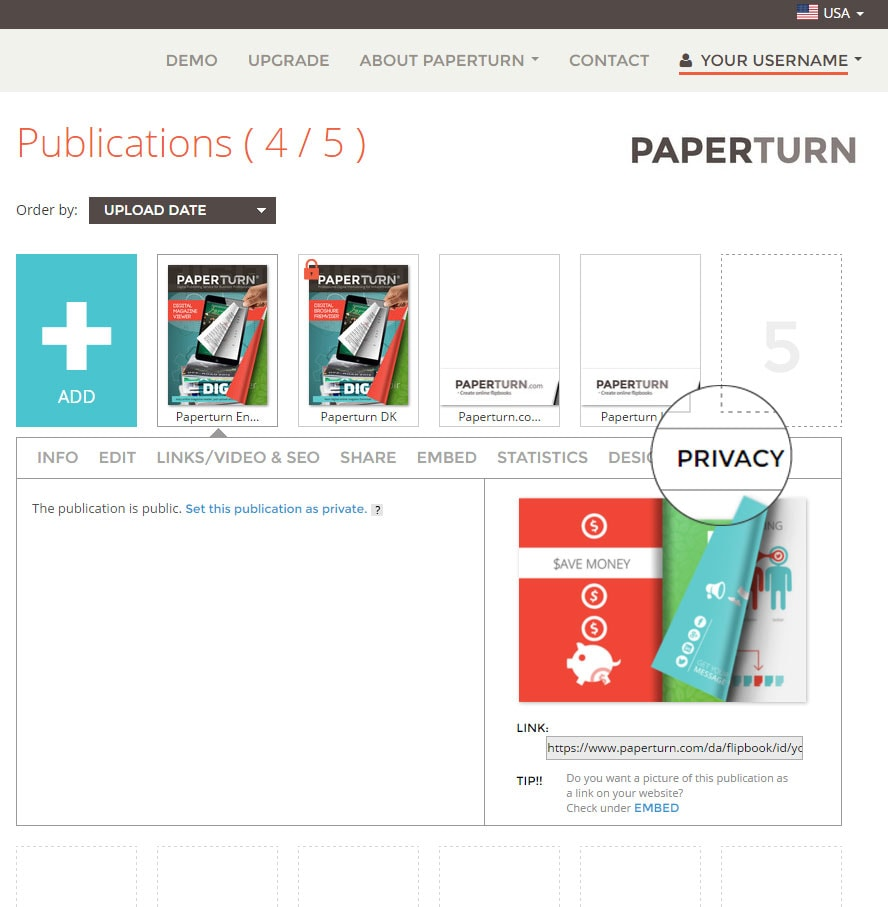 Privacy on your flipbook in Paperturn