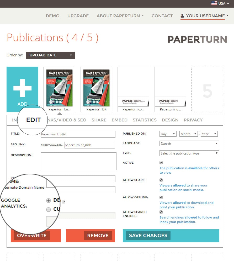 Google Analytics on Paperturn