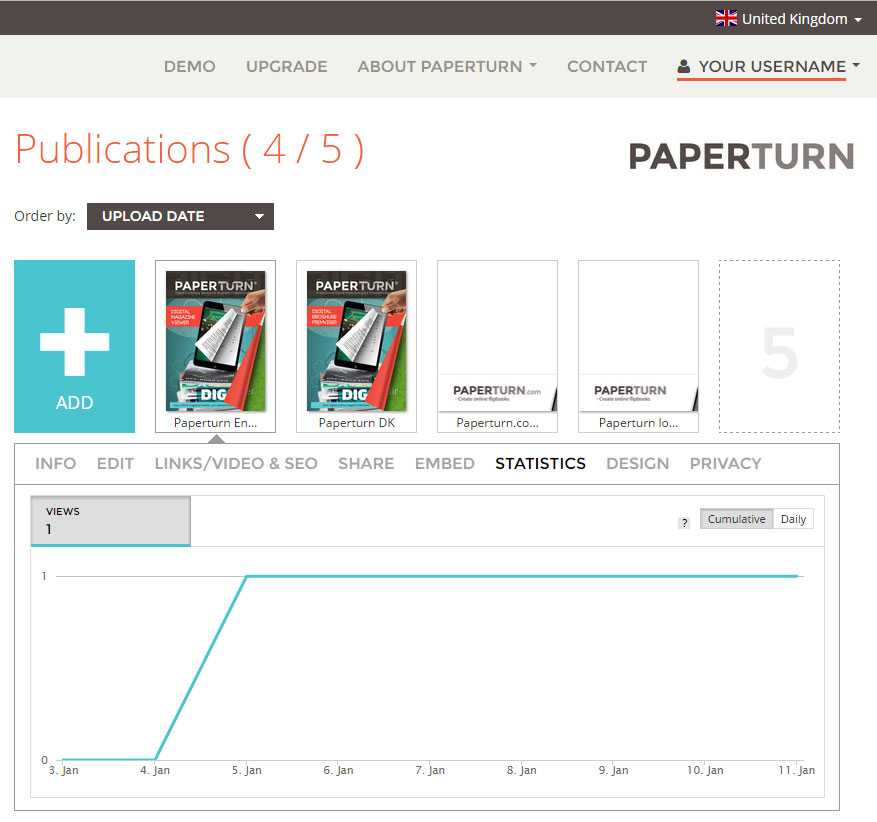 Paperturn statistics of the flipbook