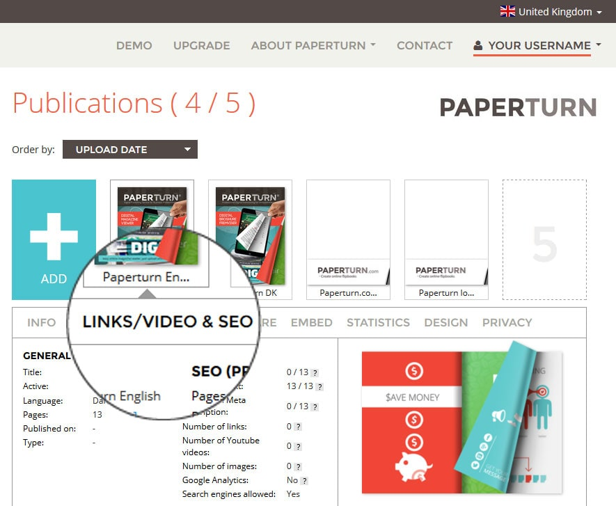 he Paperturn links/video & SEO menu
