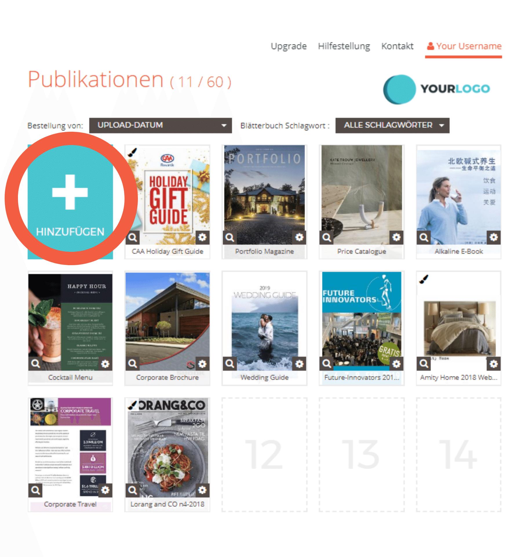 """Dashboard mit mehreren Publikationen; füge weitere Flipbooks mit der Schaltfläche """"HINZUFÜGEN"""" hinzu"""
