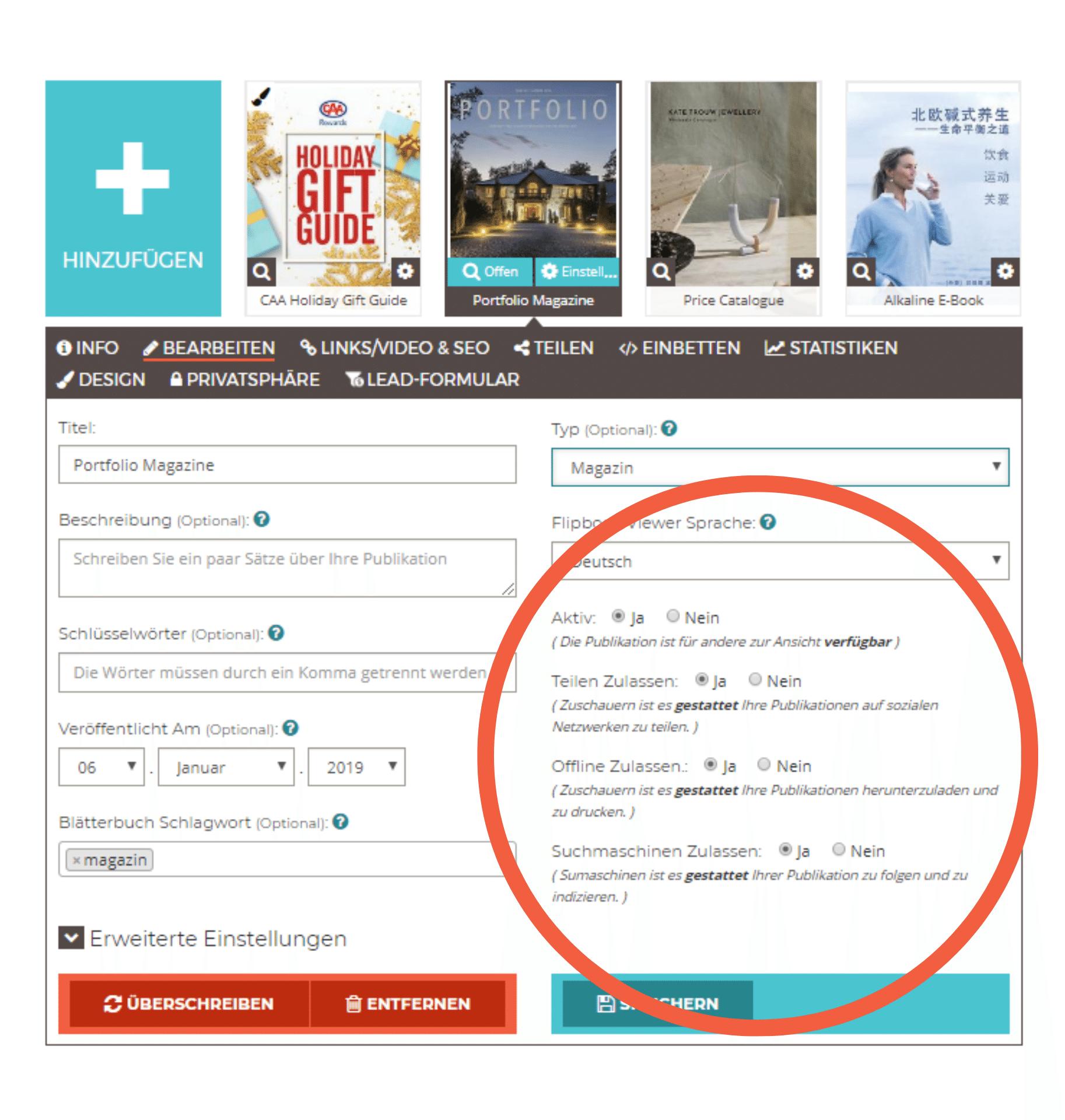 Indexierungs-und Teilungseinstellungen eines Flipbooks