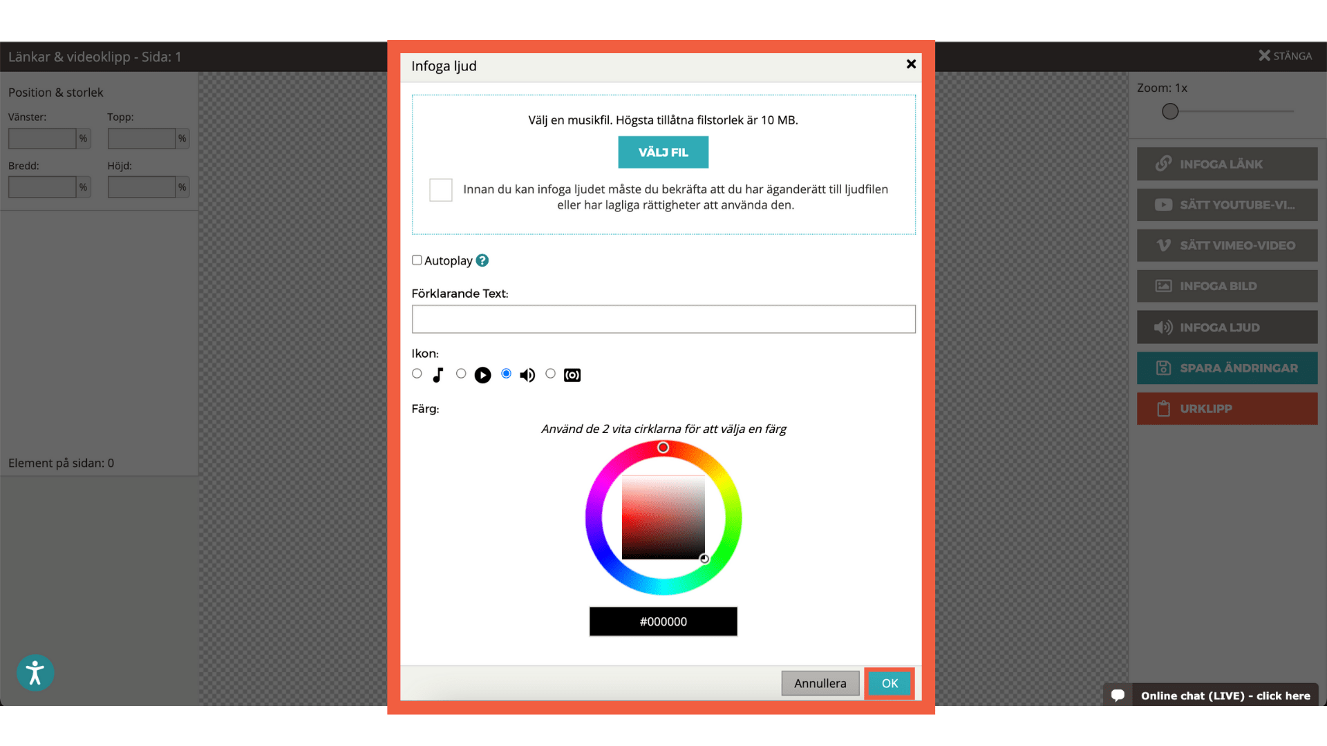 Skärmbild som visar de olika alternativen för att lägga till ljud i blädderboken (välj mp3-fil, iko