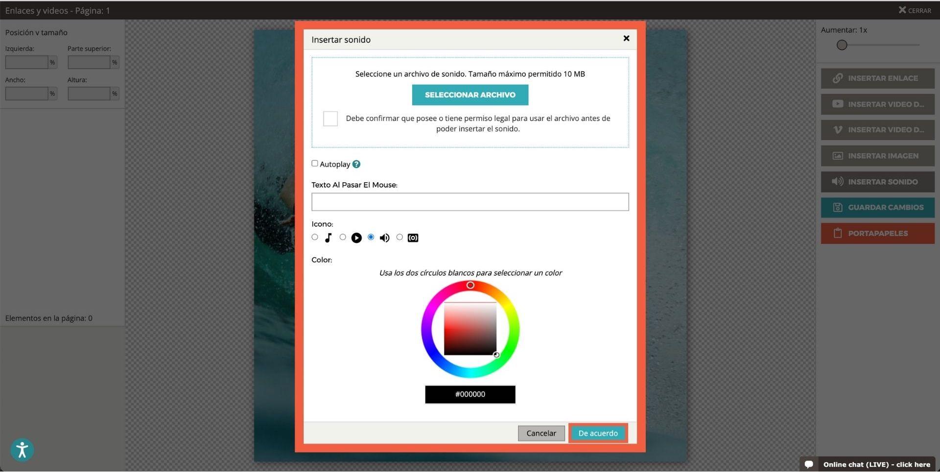Captura de pantalla que muestra las diversas opciones al agregar sonidos al flipbook (seleccione el