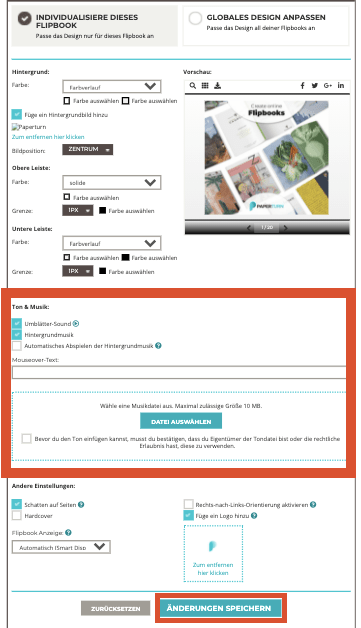 Screenshot zeigt die Optionen beim Hinzufügen von Hintergrundmusik zu deinem Flipbook (mp3-Datei ho