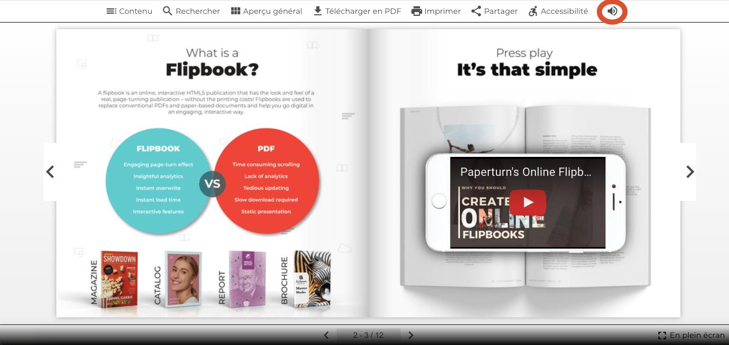 Capture d'écran montrant le flipbook ouvert et l'option de fond sonore en action.