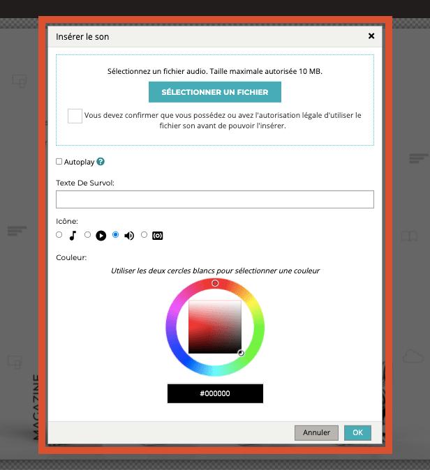 Capture d'écran montrant les différentes options lors de l'ajout de sons dans le flipbook (sélection