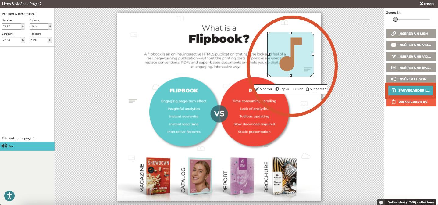 Capture d'écran montrant l'icône sonore ajoutée dans le flipbook et la possibilité de la redimensio