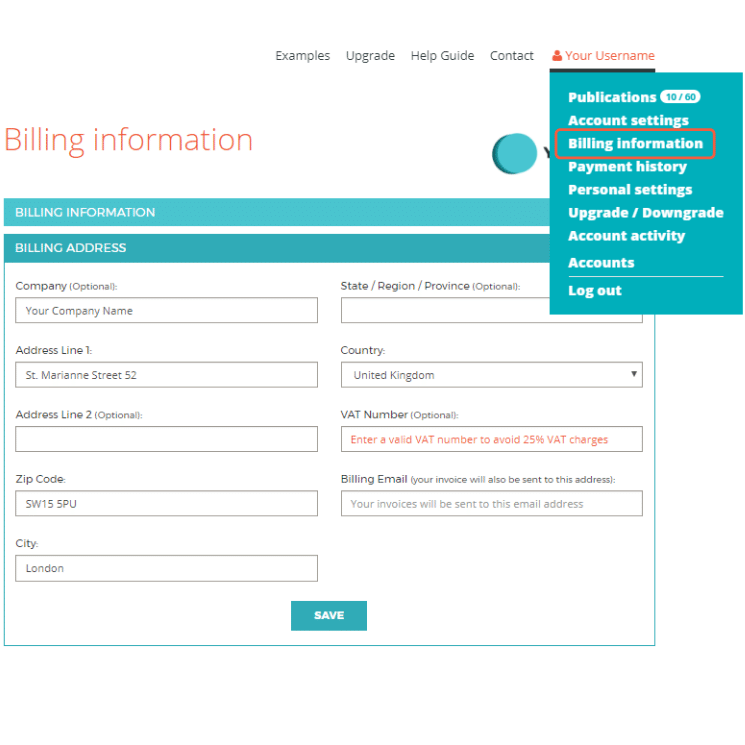 Dropdown menu showing where to find billing information