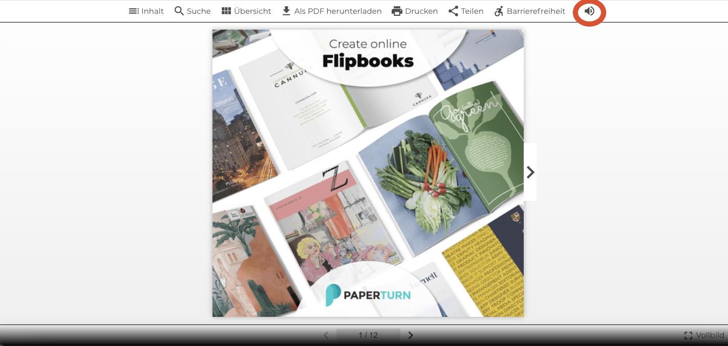 Der Screenshot zeigt das geöffnete Flipbook und die Option