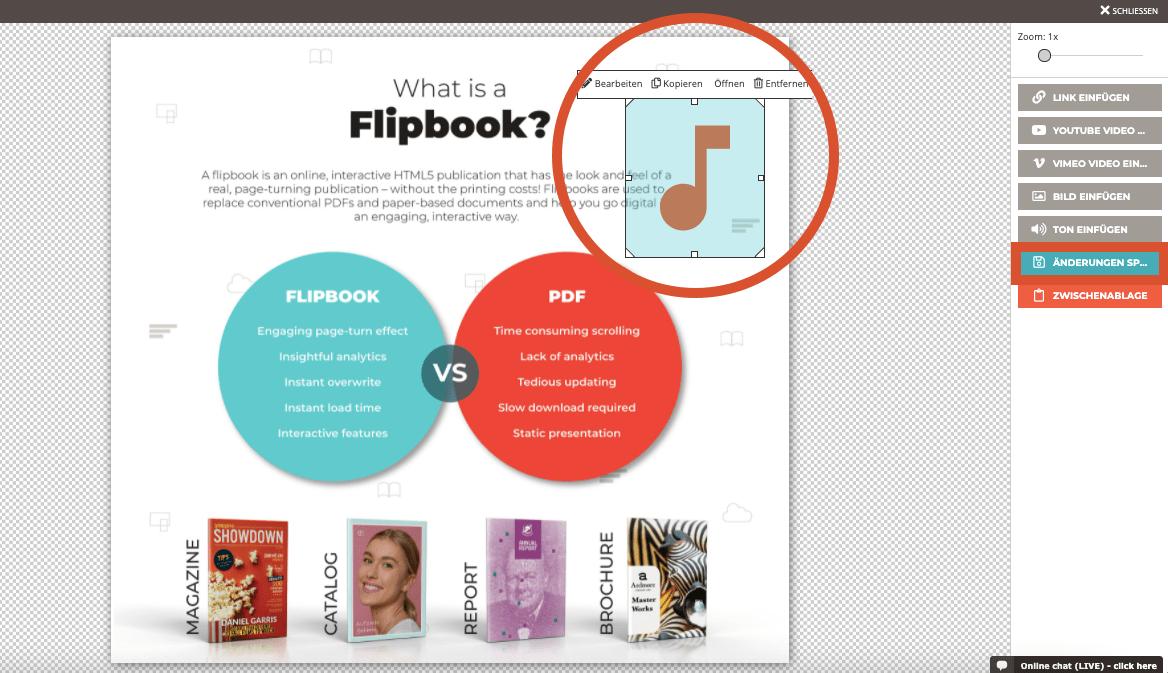 Der Screenshot zeigt das in das Flipbook eingefügte Tonsymbol und die Möglichkeit, die Größe zu ver